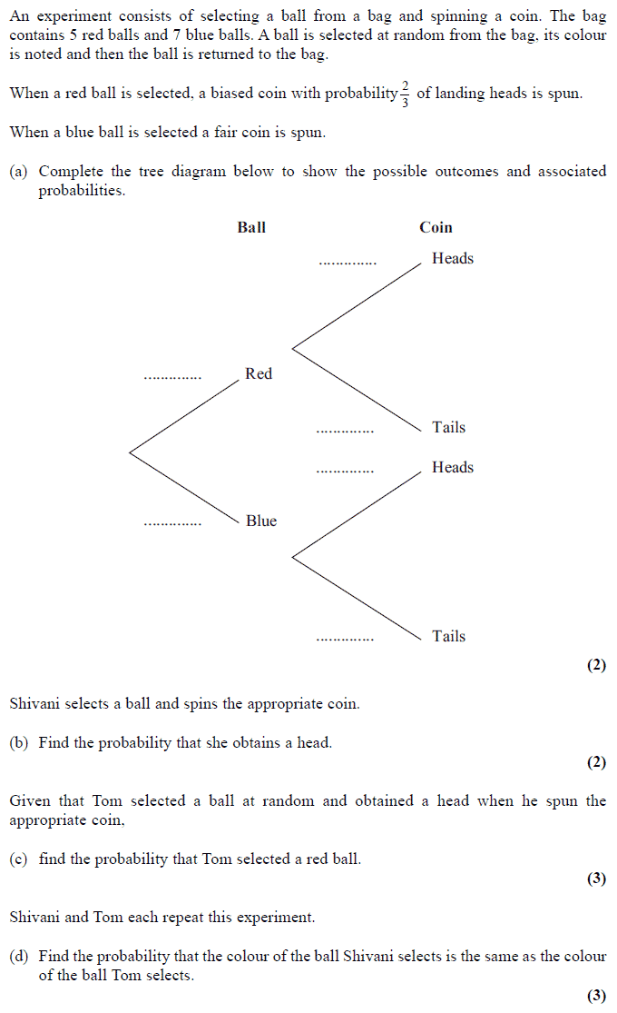 Exam Questions - Tree Diagrams