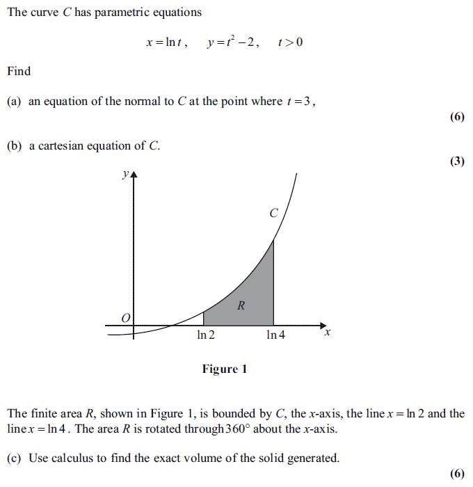 Exam Questions - Volume of revolution: parametric form - ExamSolutions