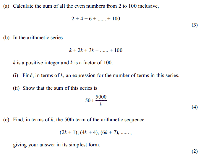Exam Questions - Arithmetic sequences and series - ExamSolutions