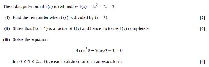 Exam Questions Remainder theorem ExamSolutions – Remainder Theorem Worksheet