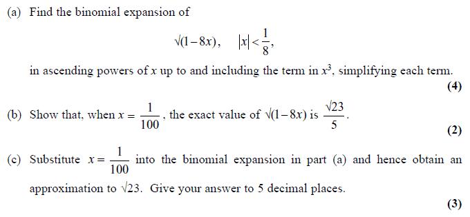 Edexcel C4 January 2010 – Q1
