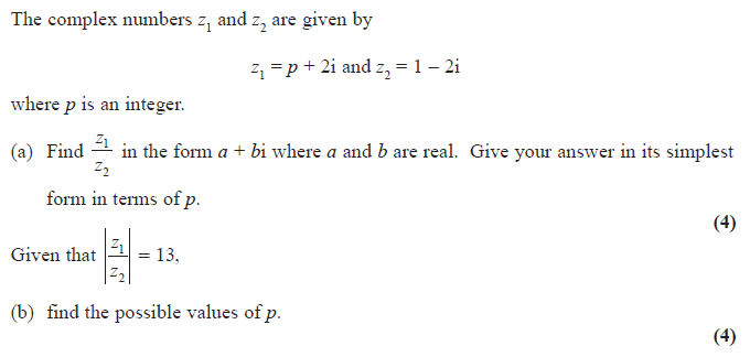 Exam Questions - Complex numbers - ExamSolutions