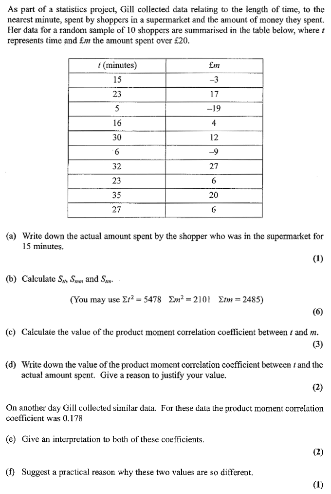 Edexcel S1 January 2007 – Q1