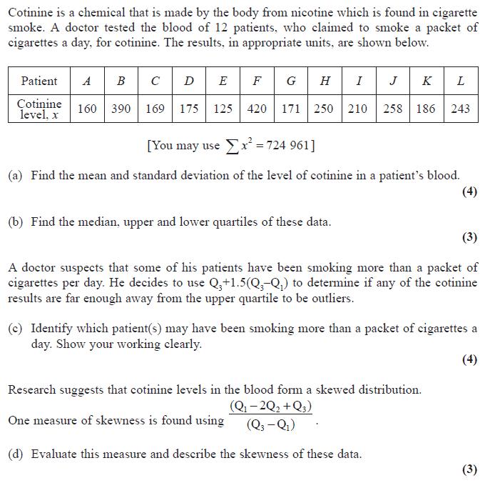 Edexcel S1 January 2008 – Q2