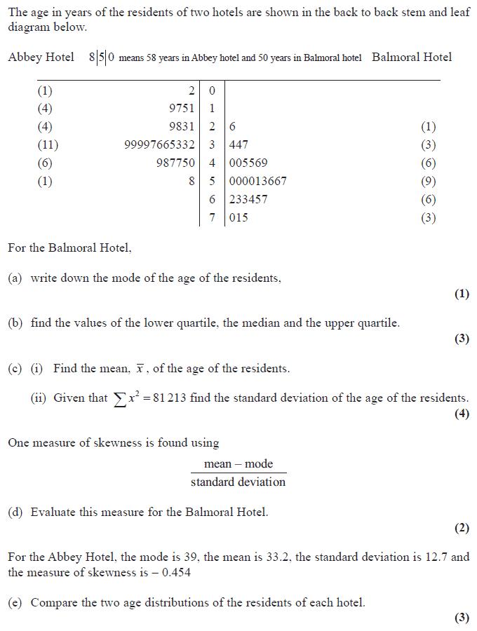 Edexcel S1 June 2008 – Q2