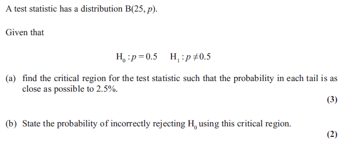 Exam Questions - Hypothesis tests: binomial distribution | ExamSolutions