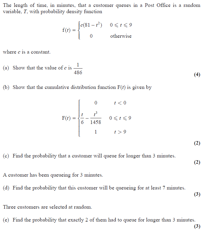Exam Questions - Probability density functions and