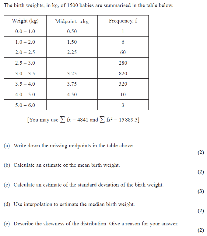 Exam Questions - Continuous data / standard deviation | ExamSolutions