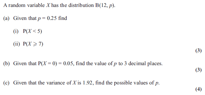 Exam Questions - Binomial distribution | ExamSolutions