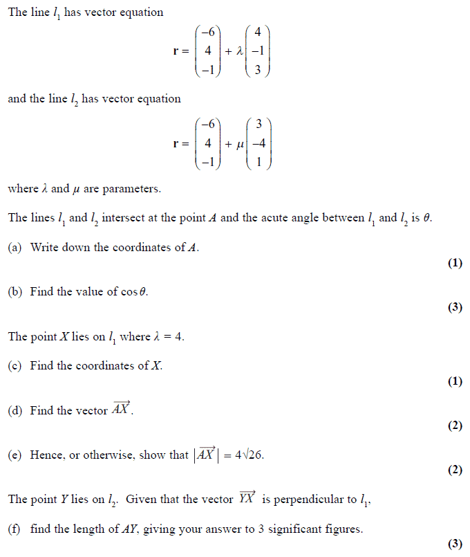 Exam Questions - Vectors | ExamSolutions