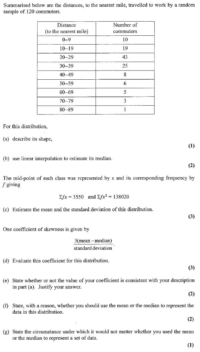 Edexcel S1 January 2007 – Q4