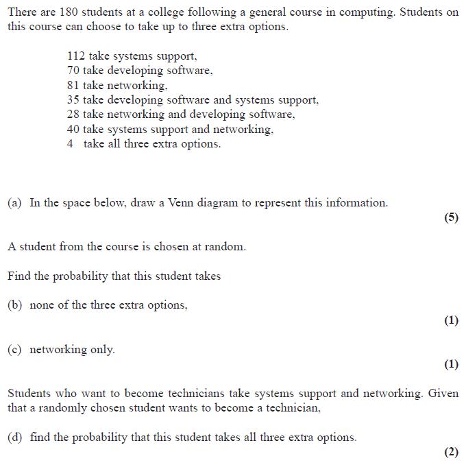 Edexcel S1 January 2010 – Q4