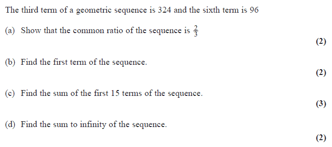 Exam Questions - Geometric series | ExamSolutions