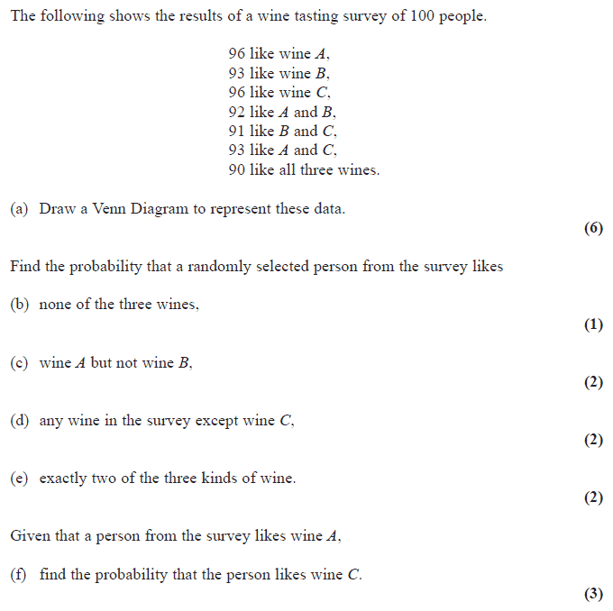 Exam Questions Venn Diagrams Examsolutions. Edexcel S1 January 2008 Q5. Worksheet. Venn Diagram Probability Worksheet At Clickcart.co
