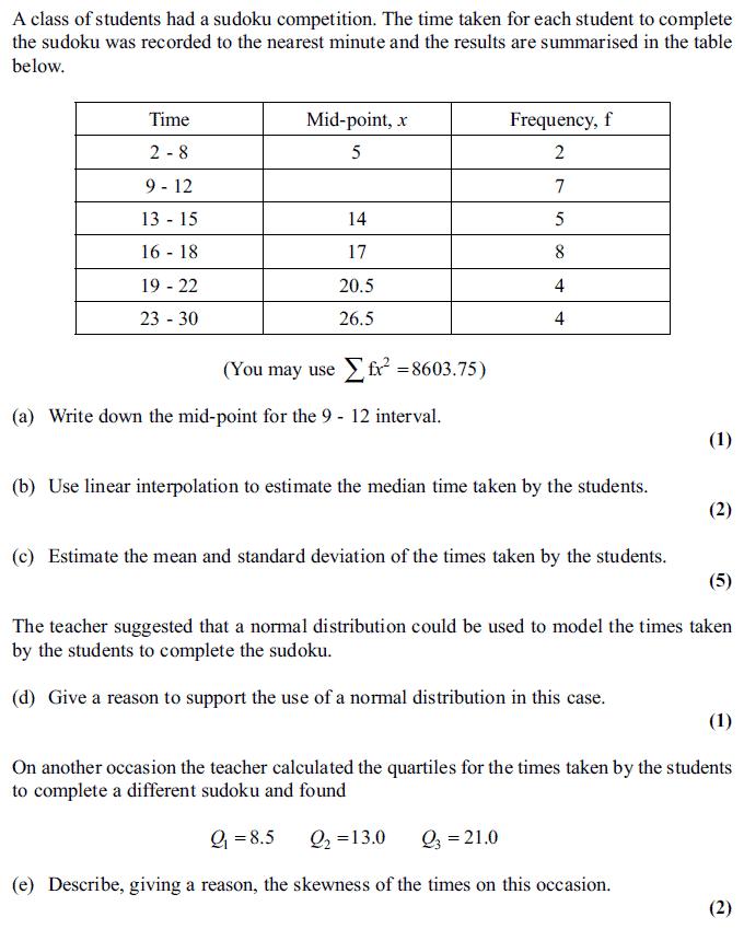Edexcel S1 June 2011 – Q5