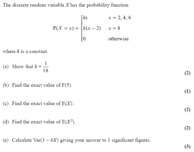 Exam Questions Discrete Random Variables Examsolutions