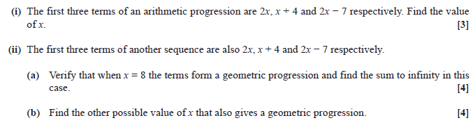 Exam Questions - Arithmetic sequences and series | ExamSolutions