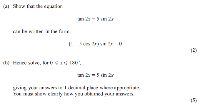 Exam Questions - Trigonometric identities | ExamSolutions