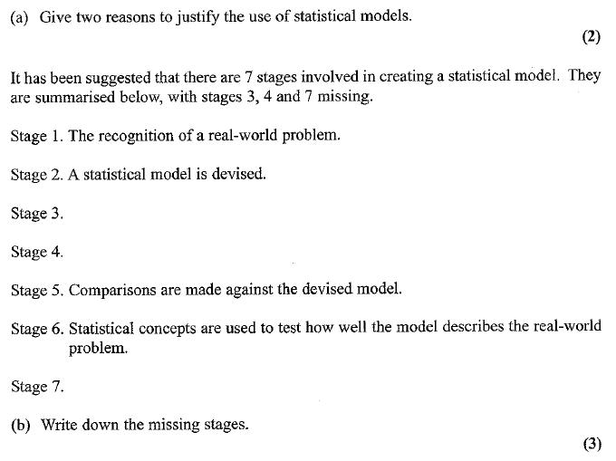 Edexcel S1 January 2007 – Q6