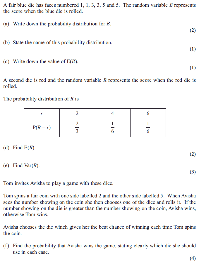 Edexcel S1 January 2013 – Q6