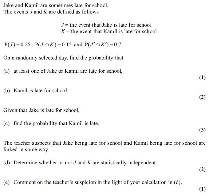 Edexcel S1 June 2011 – Q6