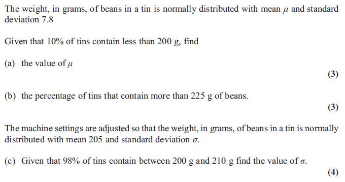 Exam Questions Normal Distribution Finding A Probability