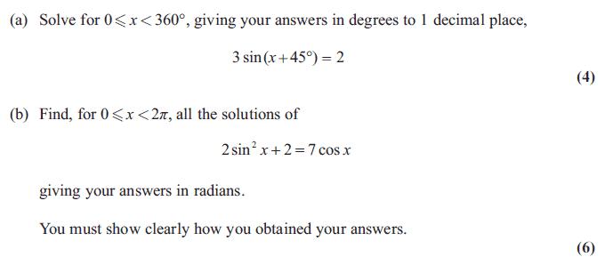 Exam Questions - Trigonometric identities | ExamSolutions