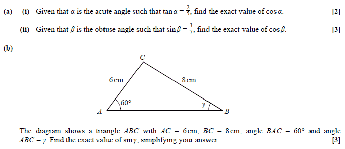 Exam Questions - Sine rule | ExamSolutions