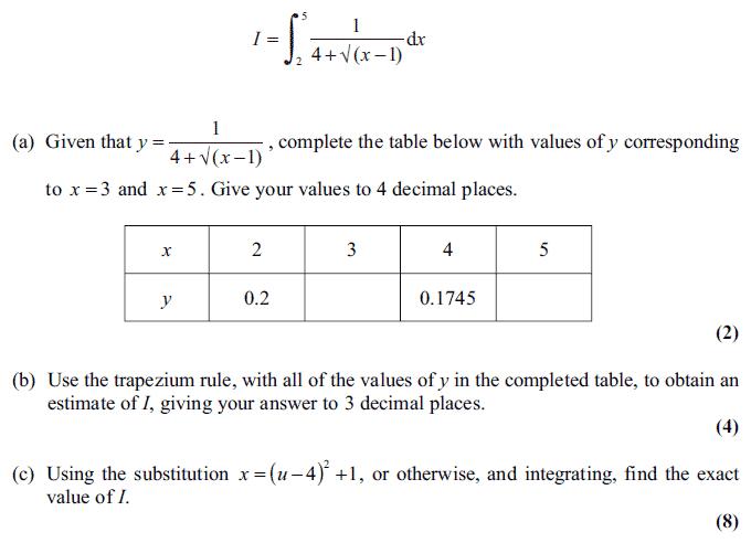 Edexcel C4 January 2011 – Q7