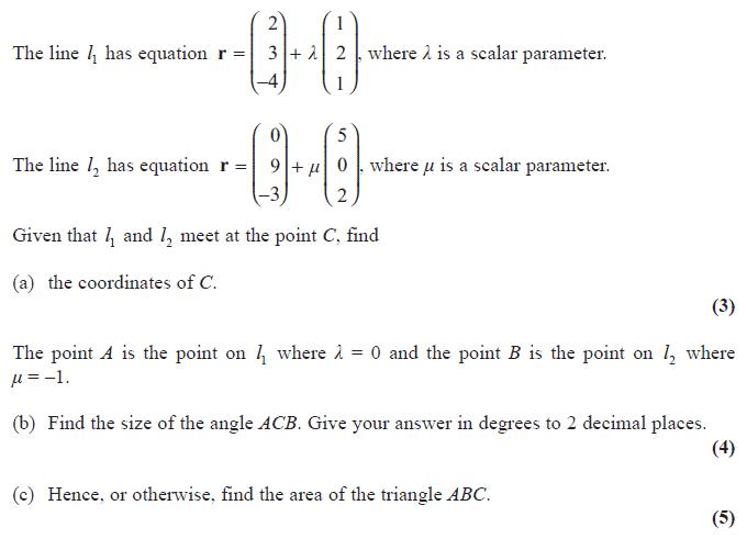Exam Questions - Vectors | ExamSolutions