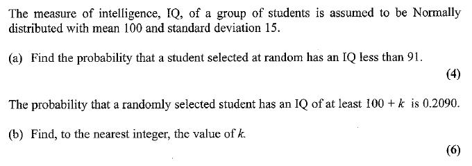 Edexcel S1 January 2007 – Q7
