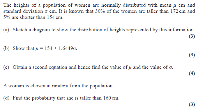 Exam questions calculating the mean and standard deviation edexcel s1 january 2010 q7 ccuart Images