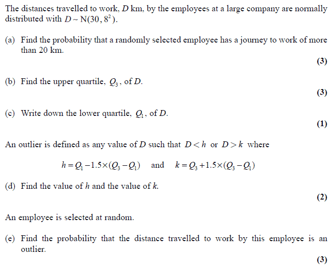 Exam Questions - Normal distribution, finding a probability