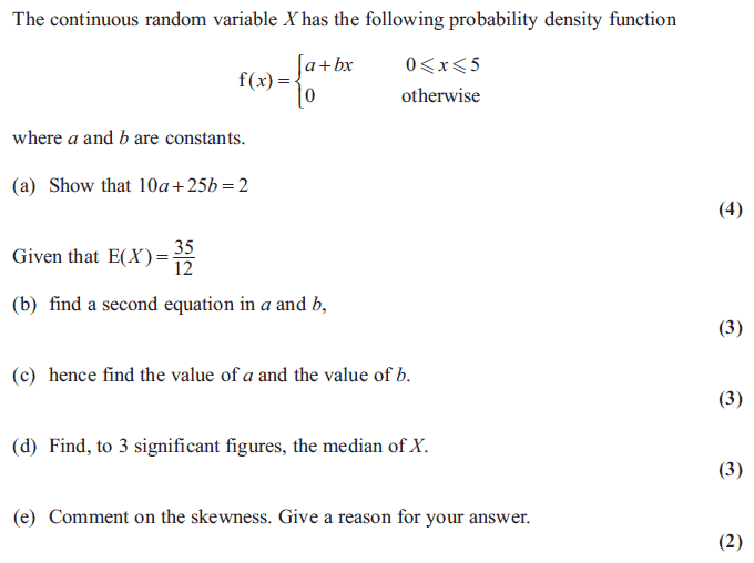 Exam Questions - Probability density functions and cumulative