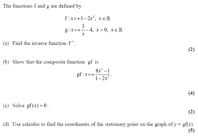 Exam Questions Inverse Functions Examsolutions