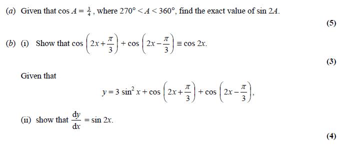 Edexcel C3 June 2006 – Q8