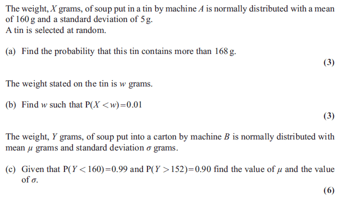 Exam questions calculating the mean and standard deviation edexcel s1 january 2011 q8 ccuart Images