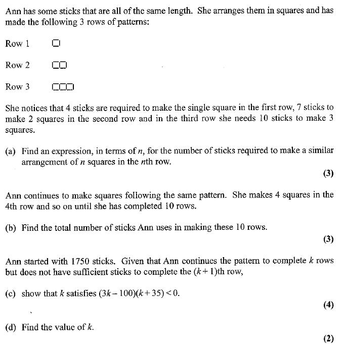 Edexcel C1 January 2007 – Q9