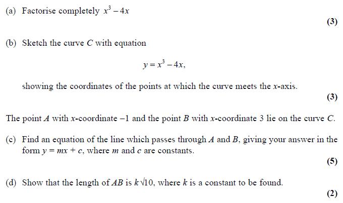 Edexcel C1 January 2010 – Q9