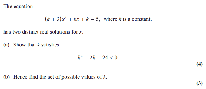 Exam Questions - Roots and discriminant | ExamSolutions