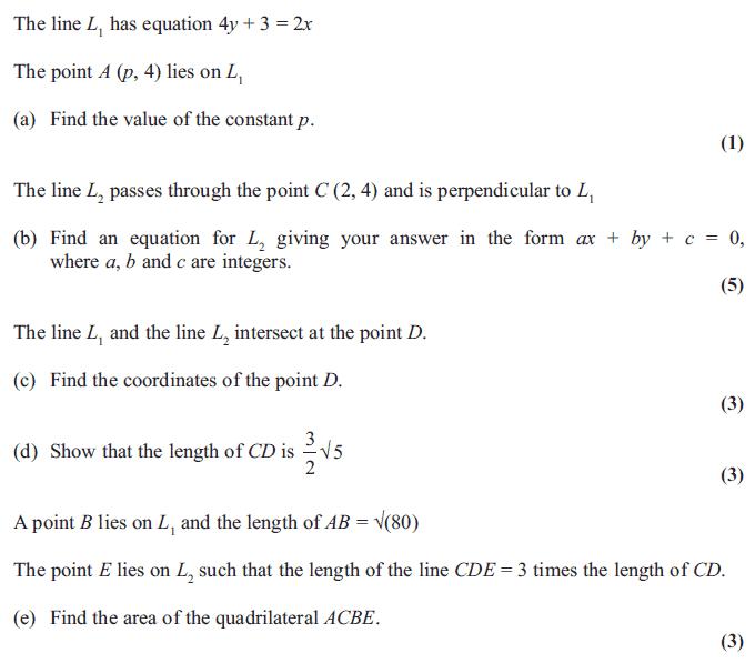Edexcel C1 June 2012 – Q9