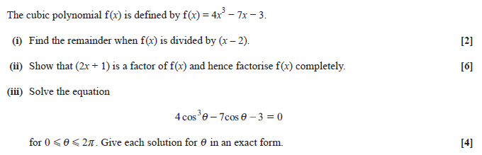Exam Questions - Factor theorem | ExamSolutions