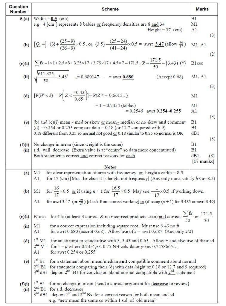 Q5 Edexcel S1 June 2016 Mark Scheme