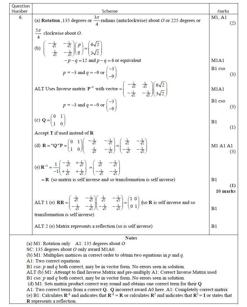 Q6 Edexcel FP1 June 2016 Mark Scheme