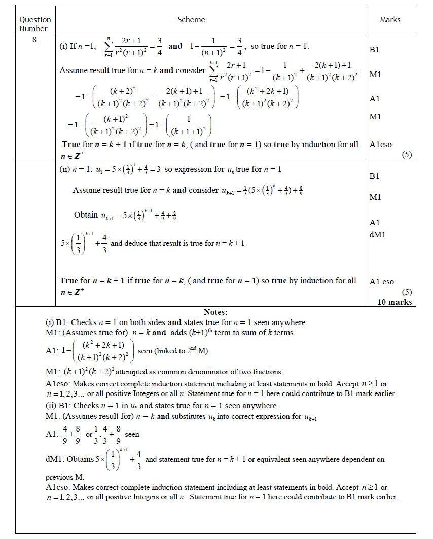 Q8 Edexcel FP1 June 2016 Mark Scheme