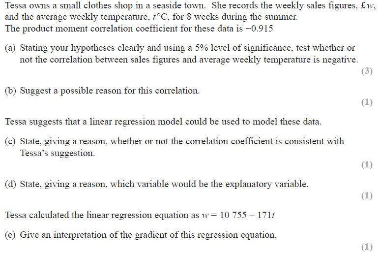 Edexcel : A-Level : June 2018 : Statistics : Paper 3 - Q2